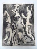 Abstrakte Personen in Schwarz-Weiß. Alfonso Amorelli (1898 - Palermo - 1969). Aquarell auf Papier,