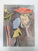 Blondes Mädchen in Gedanken. Alfonso Amorelli (1898 - Palermo - 1969). Aquarell auf Papier, unten