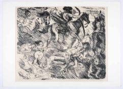 Wilde Szene mit Akten, Dämonen und Krieger. Lithographie. Lovis Corinth (21.07.1858 Tapiau - 17.07.