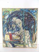 Liebespaar. Abstrakter Symbolismus. Ludmilla Eisfeld (Künstlerin des 20. Jahrhunderts). Öl auf
