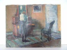 Interieurszene. Clemmen Clemmensen (05.05.1885 Kopenhagen - 1964). Öl auf Leinwand, Datierung um