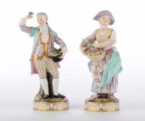 Gärtnerkinder. Zwei Figuren der Knaufzeit um 1850. Meissen, zugeschrieben. Polychrome Bemalung,