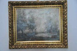 Fischer in nebeliger Landschaft. Öl auf Karton, Datierung um 1870, augenscheinlich unsigniert,