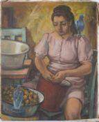 Junge Zwiebelschälerin mit Tauben.August Garbe (Niedersächsischer Kunstmaler, Akademie der bildenden