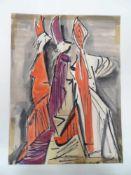 3 venezianische Figuren.Alfonso Amorelli (1898 - Palermo - 1969). Aquarell auf Papier, unten