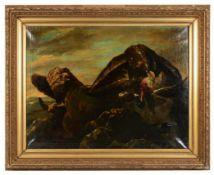 Zwei Adler mit gerissenem Erpel.Henry Schouten (1864 - 1927, Gent). Öl auf Leinwand, unten links