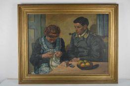 Dekorierter Fliegersoldat mit Ehefrau.August Garbe (Niedersächsischer Kunstmaler, Akademie der
