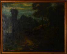 Ideallandschaft, 18. Jahrhundert.Altmeister-Gemälde, wohl Italien. Öl auf Leinwand, unsigniert,