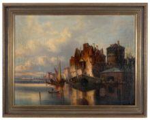 Belebte niederländische Hafenpassage mit weitläufiger Silhouette. T.C. Gessnitzer,Pseudonym des Karl