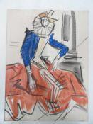 Stilisierte Figur mit Stier.Alfonso Amorelli (1898 - Palermo - 1969). Aquarell auf Papier, unten