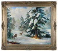 Winterlicher Wald mit Rehen.Hans Leciejewski (Schlesischer Künstler 19./20. Jahrhundert). Öl auf