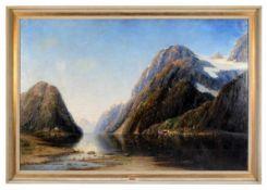 Fjordlandschaft. Therese Fuchs (1849 - 1898, Düsseldorf). Ideallandschaft mit minutiösenDorfschaften