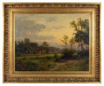 Abendstimmung mit Ortschaft und heimkehrendem Mann am Fluss. Carl von der Hellen (1843Bremen -