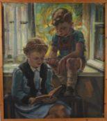 Junge mit älterer Schwester am Fenster, Sommerimpression.August Garbe (Niedersächsischer Kunstmaler,
