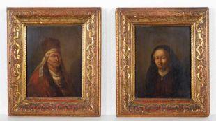 Darstellung eines niederländischen Ehepaares des Kaufleute-Standes. 2 kleineAltmeister-Gemälde,