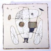 Anonymer KeramikerBildplatte, heller Scherben, wohl 1960er Jahre, stilisierte Figur in Sgrafitto-