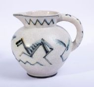 Augusta Kaiser (1895, Niederbrechen - 1932, Wiesbaden)Art-Deco-Krug, Kieler Kunst-Keramik, um 1920/