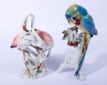 Zwei figürliche PorzellaneEns, Volkstedt, blaue Mühlradmarke, 1x zwei Flamingos, sparsam