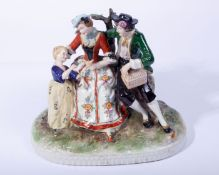 Figuren-GruppeDresden-Art, 20.Jh., auf Natursockel, sitzendes Paar m. Vogel u. Käfig, nebenstehend