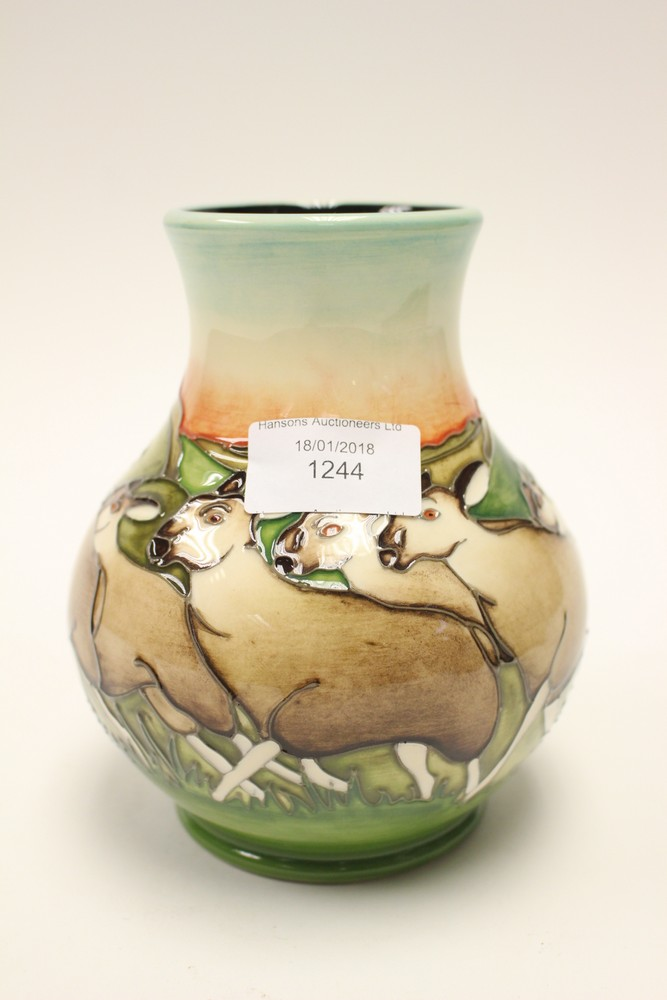 A Moorcroft Limited Edition 540 Vase In Cheviot Sheep Pattern