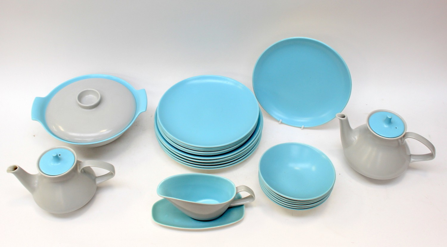A Poole pottery turquoise and grey part dinner service to include six dinner plates six salad pl  sc 1 st  The Saleroom & A Poole pottery turquoise and grey part dinner service to include ...