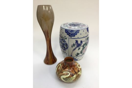 An Old Tupton Ware Baluster Shaped Vase Together With A Tall Art