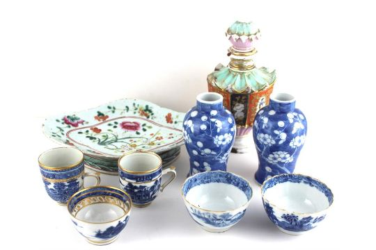 Selection Of China Including Chinese Vases Blue And White Cups And