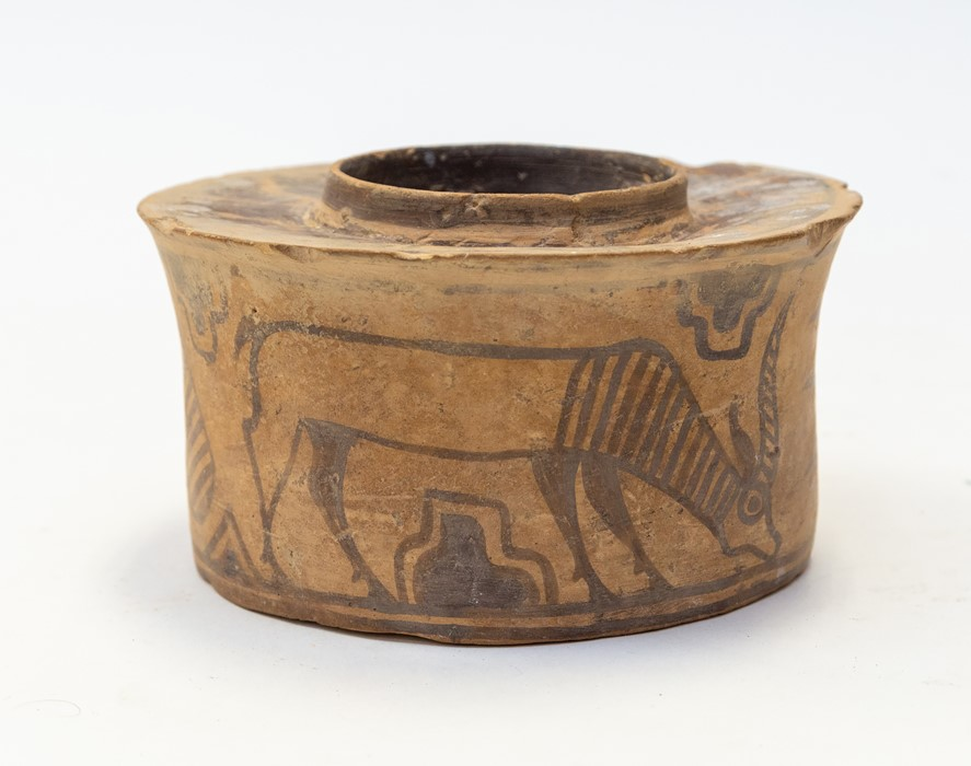 Lot 421 - Indus Valley Harappan Civilisation Pottery Jar C. 1900 BC. A well painted bubous shaped pottery