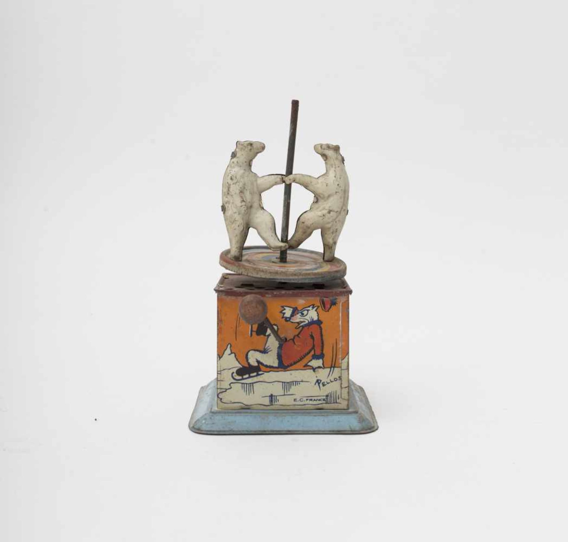 Lithographed metal toy Rattle-style depicting two dancing bears with PELLOS illustration, H=19cm.