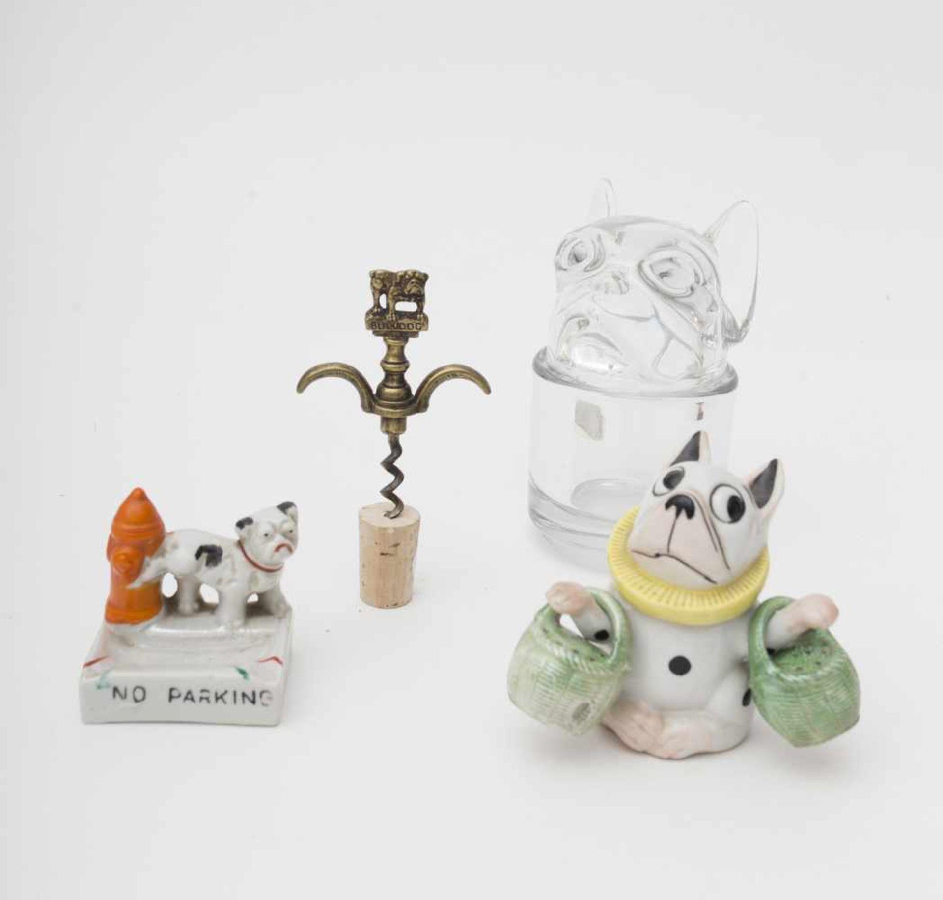 Bulldog theme Corkscrew – mustard pot – pepper shaker – salt shaker – crystal canister.
