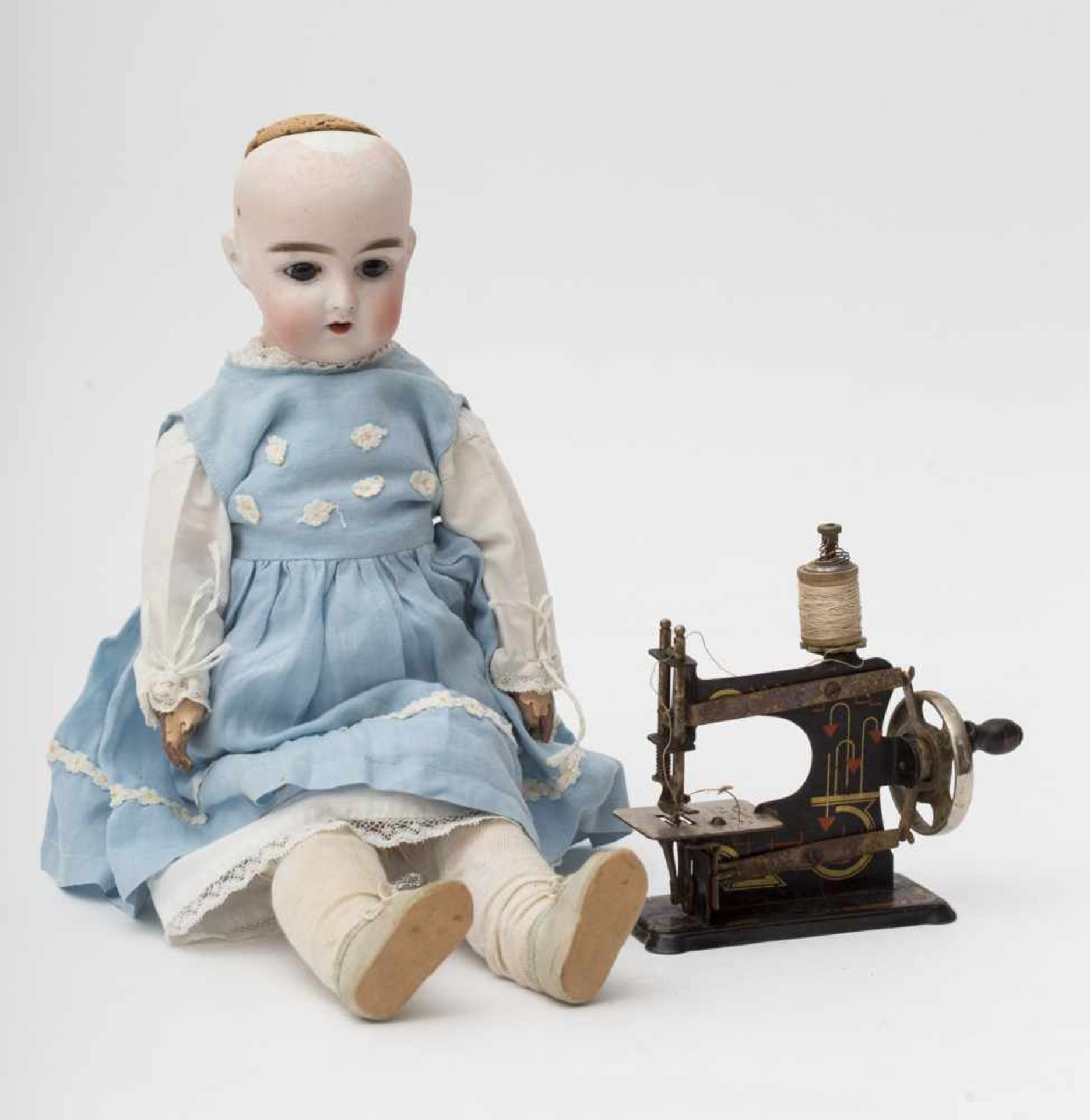 "German doll With biscuit head, open mouth, branded ""H"", fixed blue eyes, articulated body SFBJ ("