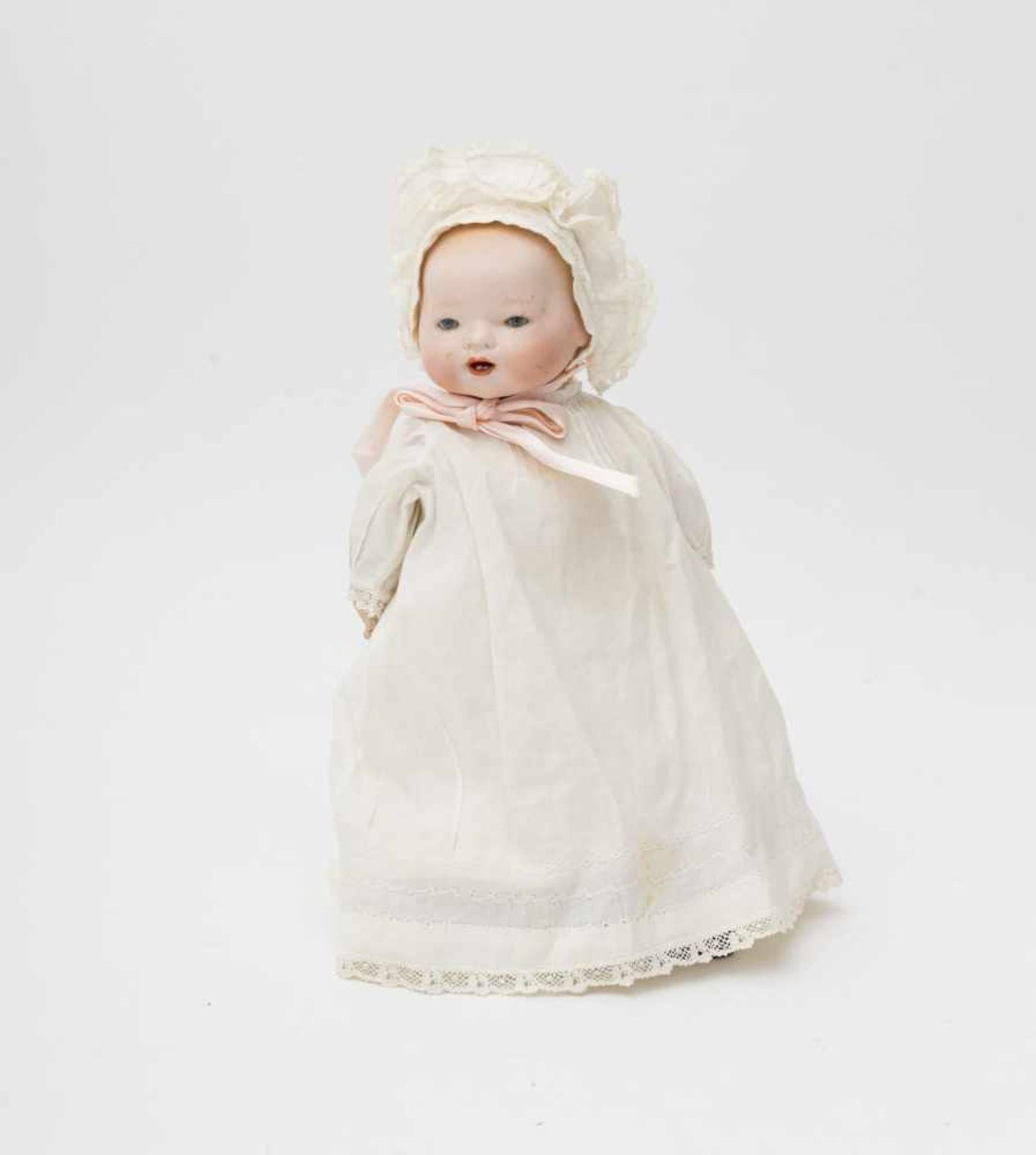 """German full head character baby doll Made of biscuit, open mouth, branded """"HB"""", blue sleeping"""