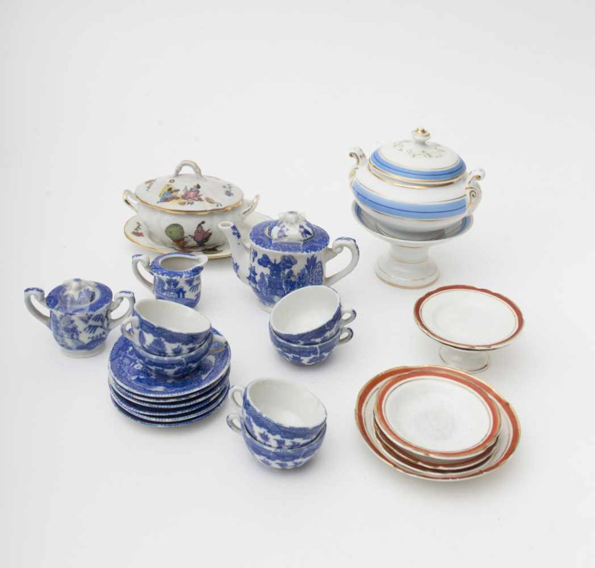 Parts of dinnerware set for dinner, and Asian-inspired coffee set.
