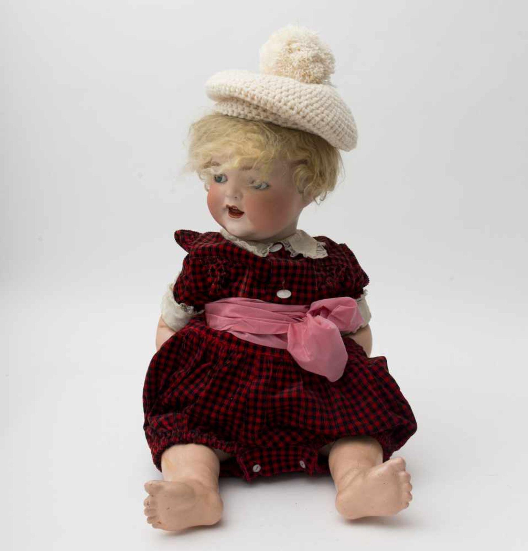 "Character baby doll Of German make, branded ""HEUBACH KOPPELSDORF 342/12"", blue sleeping and"