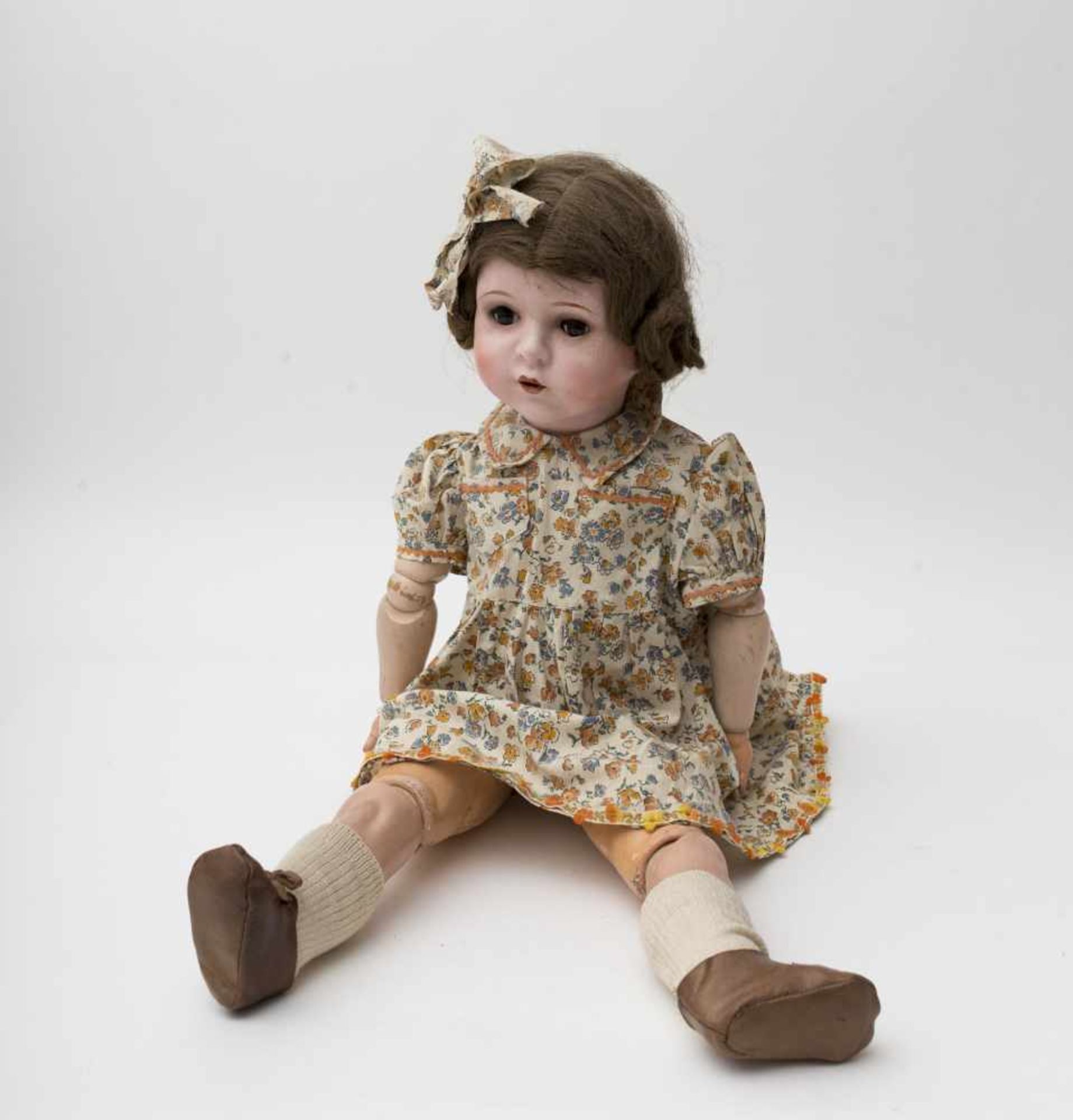 Large Belgian UNICA doll Composition head, open mouth, fixed brown eyes, Toddler-type articulated
