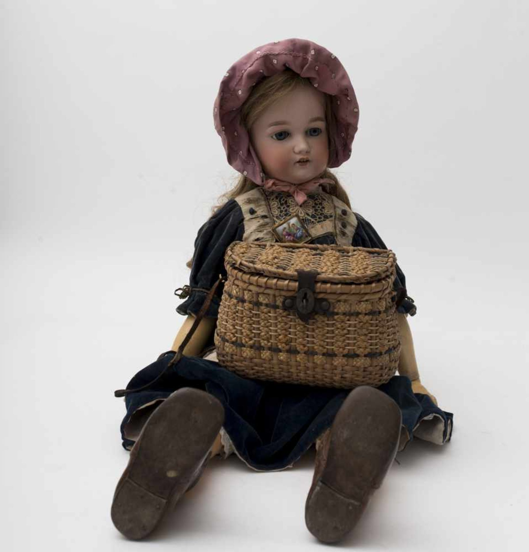 """German doll With biscuit head, open mouth, branded """"A 11 M"""", blue sleeping eyes, Toddler-type"""
