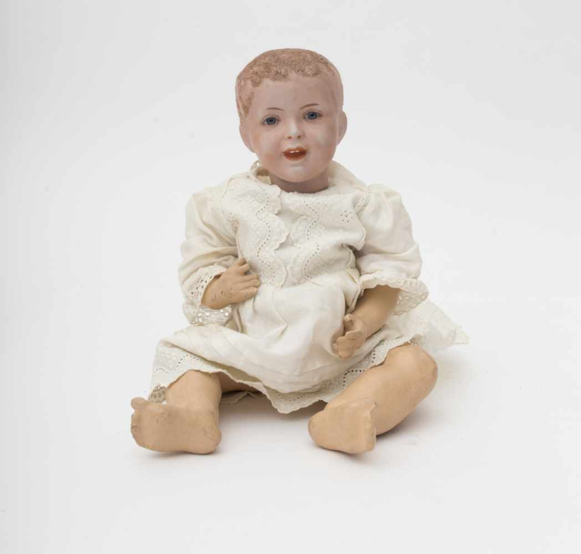 """Character baby doll Fixed blue eyes, branded """"SFBJ 235 PARIS"""", size 4, full head with flocked"""