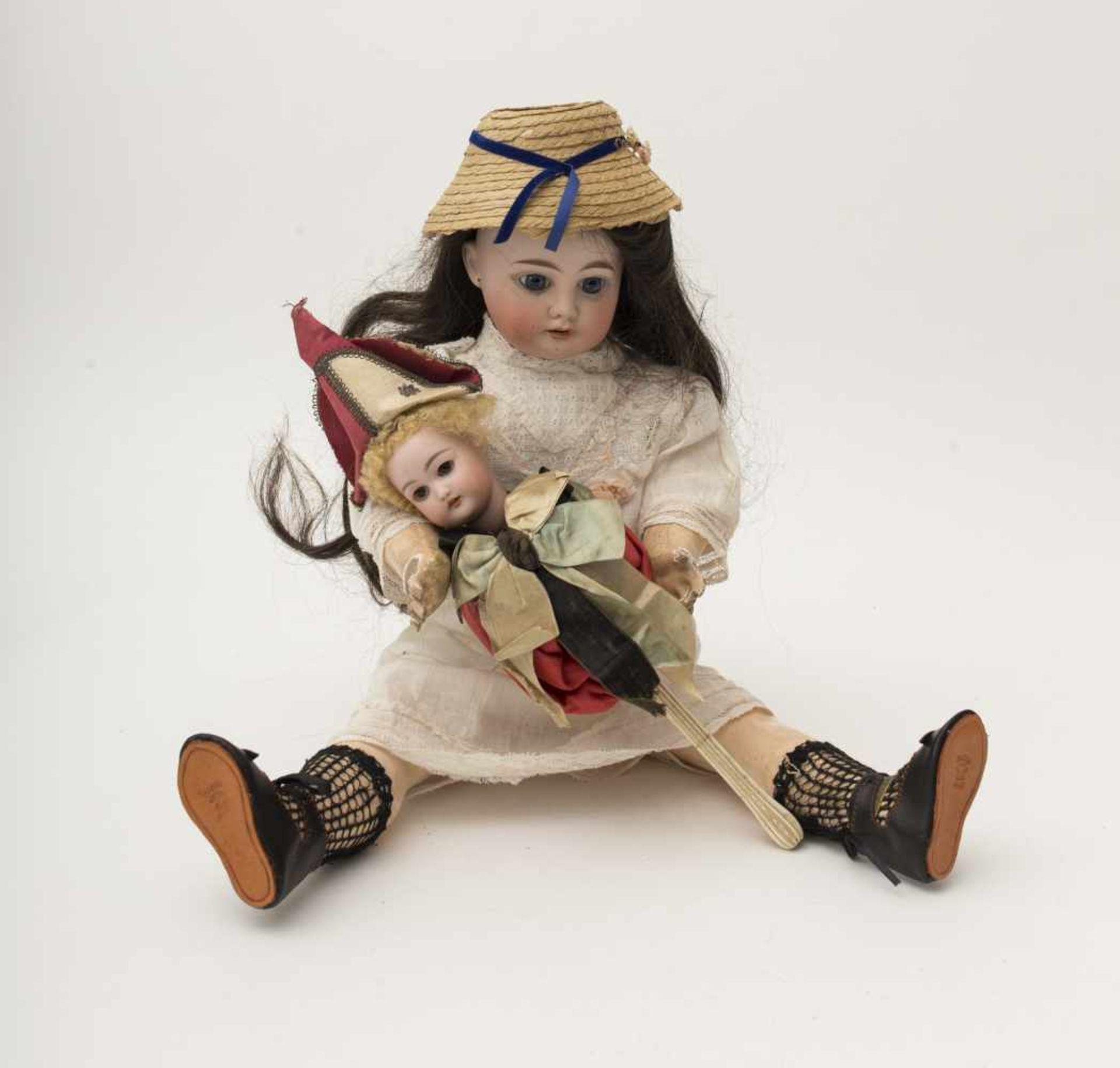 "FLEISCHMANN doll ""EDEN BEBE"", biscuit head, branded ""3"", open mouth, fixed blue eyes, straight"
