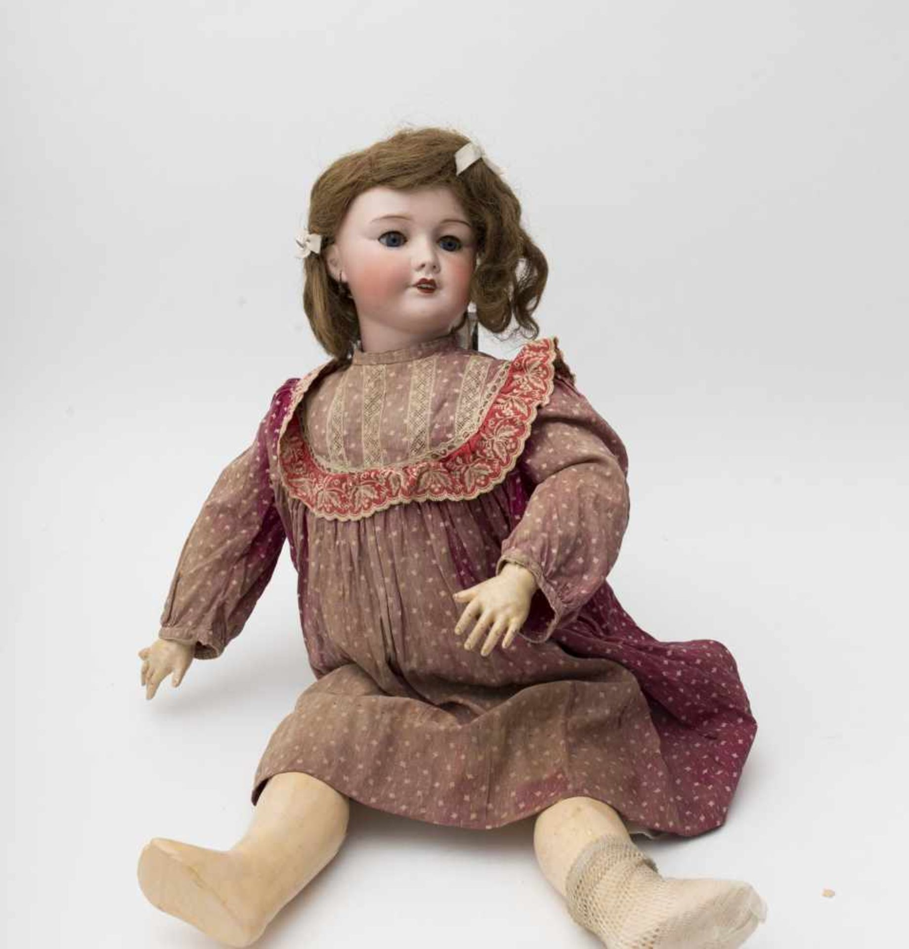 "SFBJ doll With cast biscuit head, branded ""France SFBJ 301 PARIS"", size 12, blue sleeping eyes,"