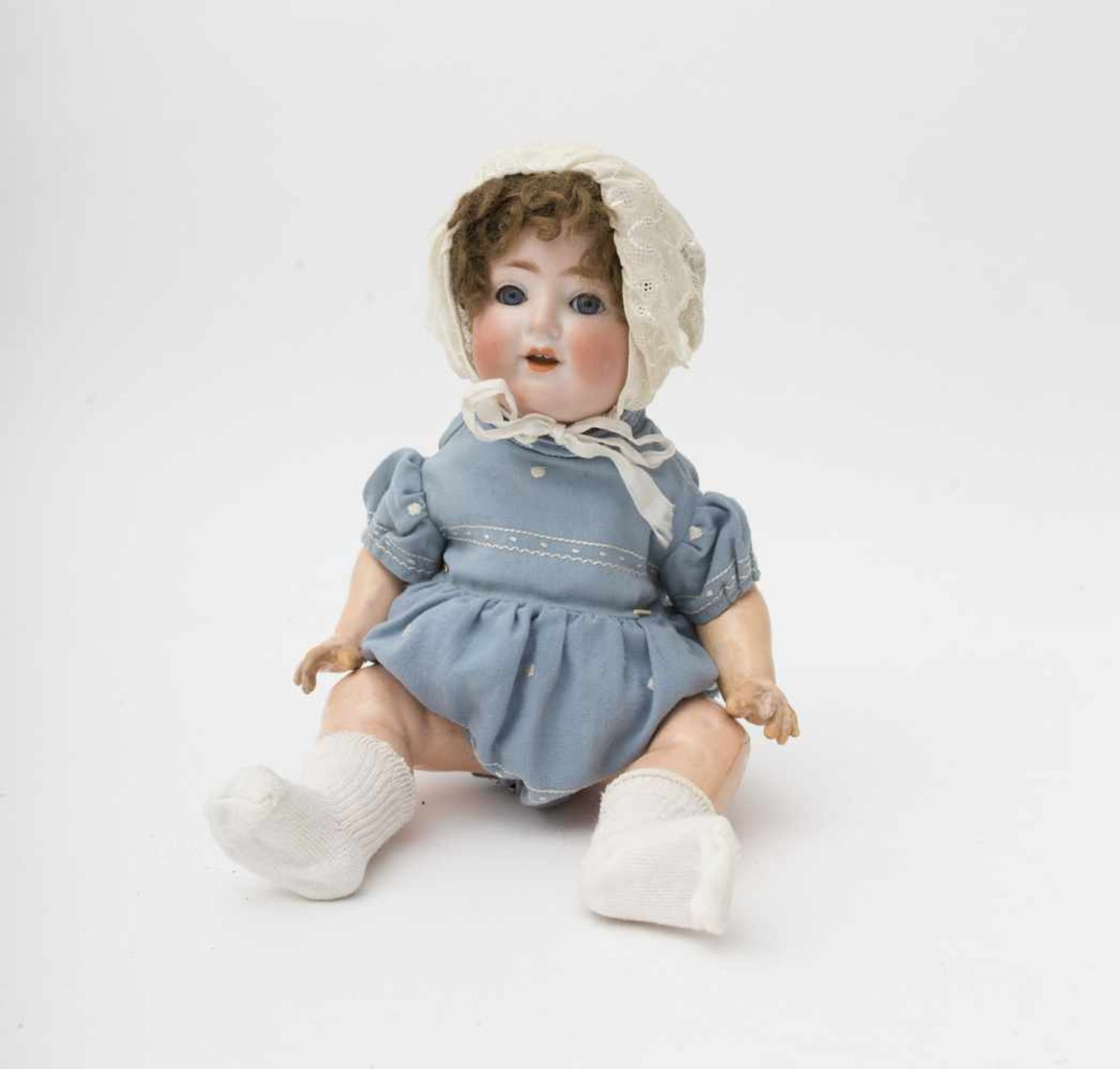 """German character baby doll Made of biscuit, open mouth, branded """"169 T.O"""", blue sleeping eyes,"""