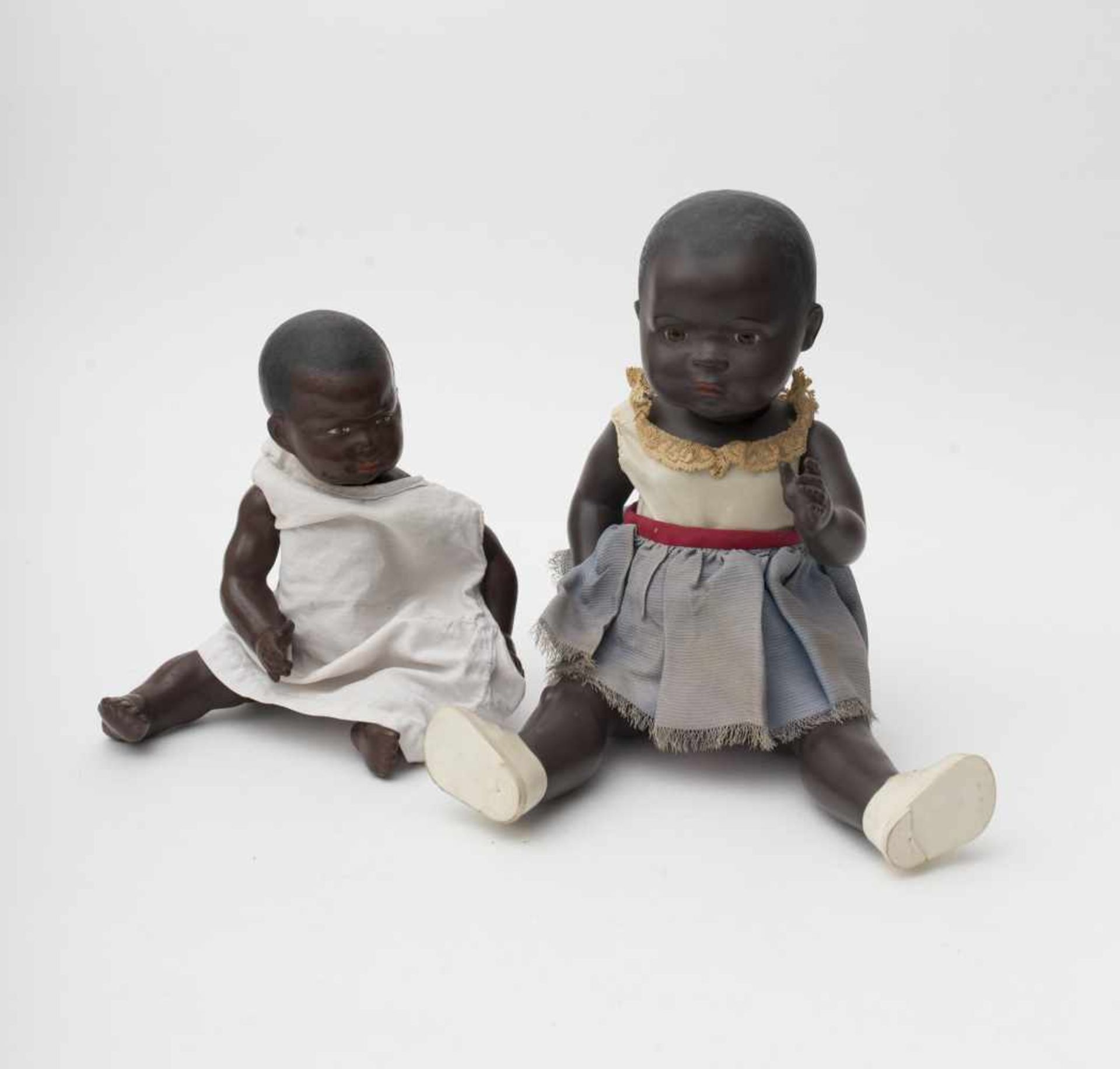"""PETITCOLLIN: """"NEGRI"""" Black celluloid baby doll, painted eyes, H=30cm. Black baby doll (Turtle mark),"""