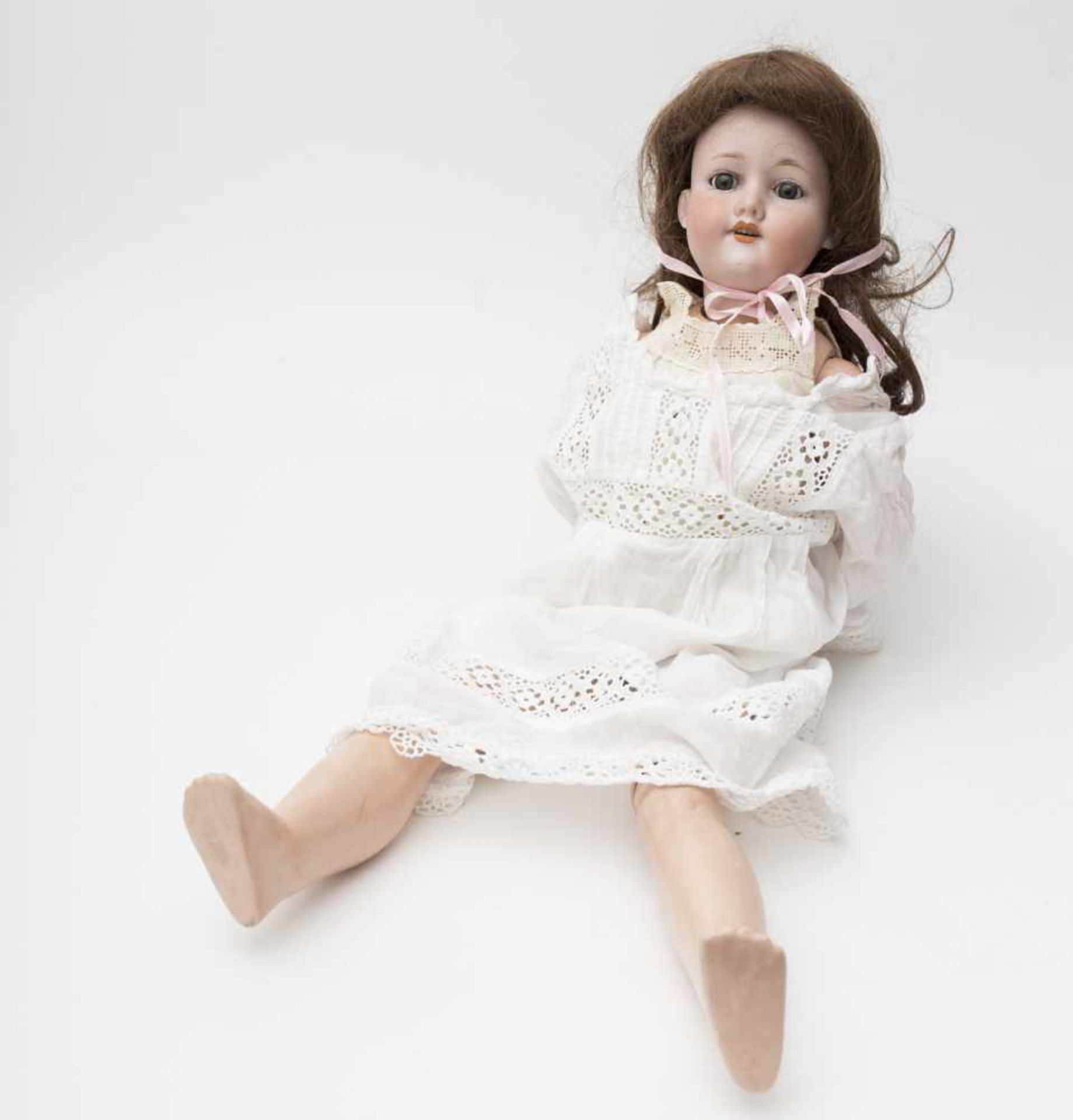 "German doll With biscuit head, open mouth, branded ""ARMAND MARSEILLE 390"", size 5, blue sleeping"