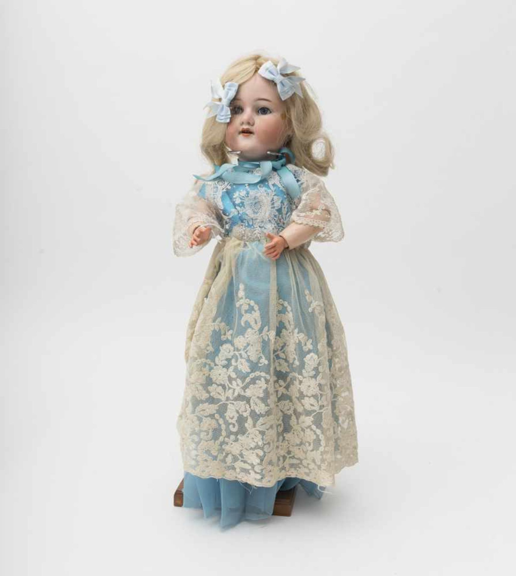 """German doll With biscuit head, open mouth, branded """"ARMAND MARSEILLE 390"""", size 6, blue sleeping"""