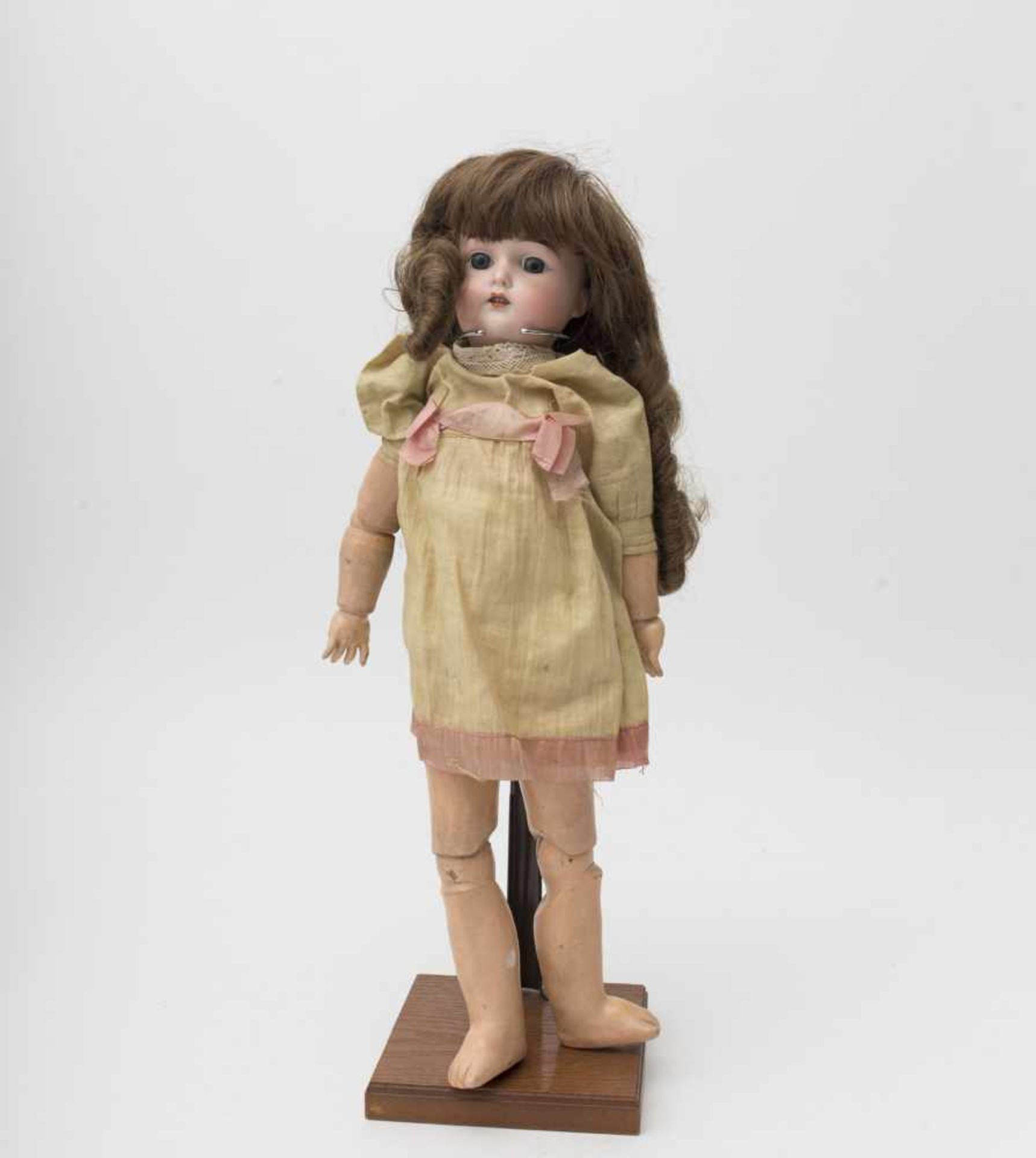 """German doll With biscuit head, open mouth, branded """"MAJESTIC A 4 ½ M"""", fixed blue eyes, original"""