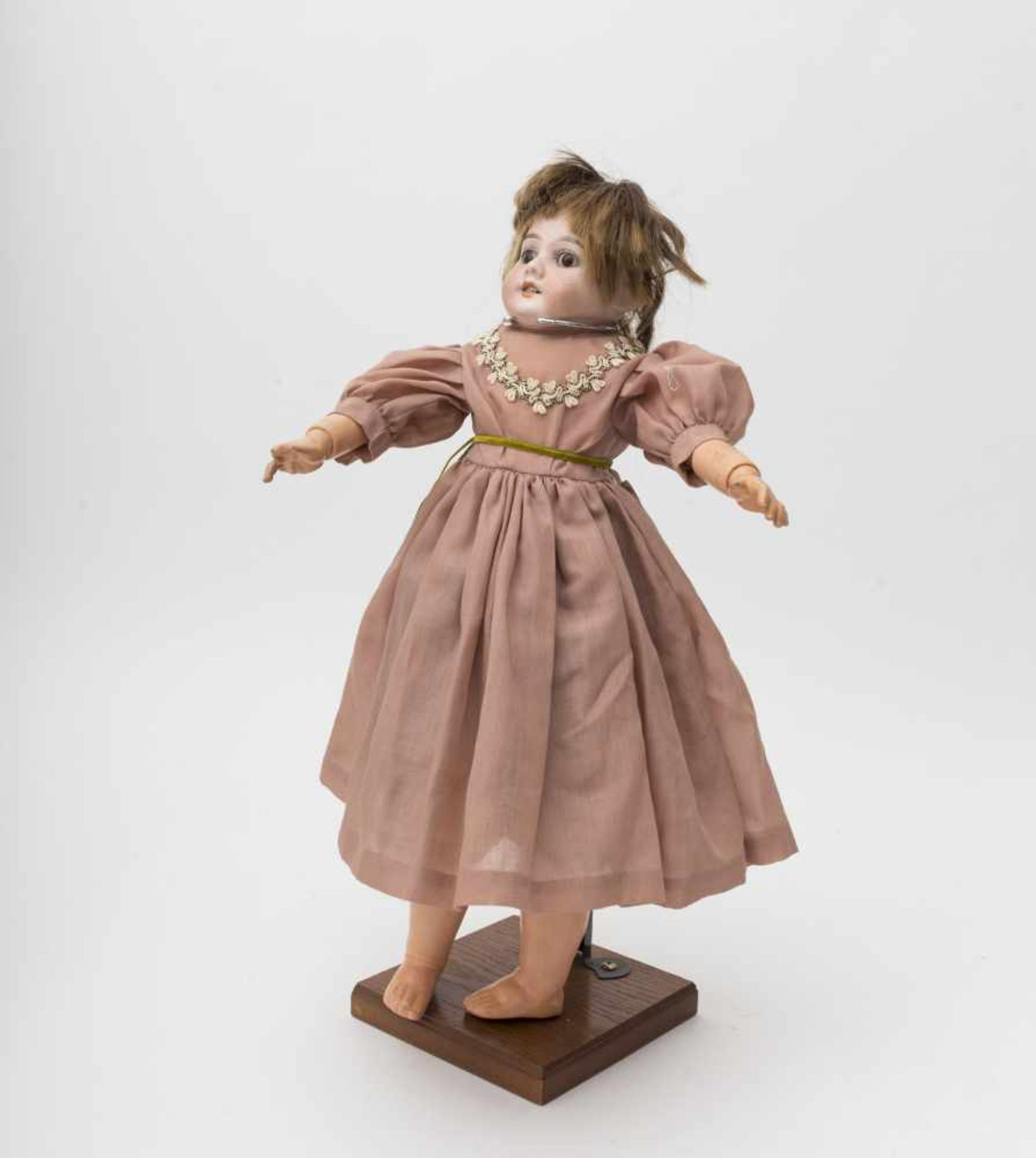 German doll With biscuit head, open mouth, branded «1894 AM DEP» size 7 ½, reattached brown eyes,