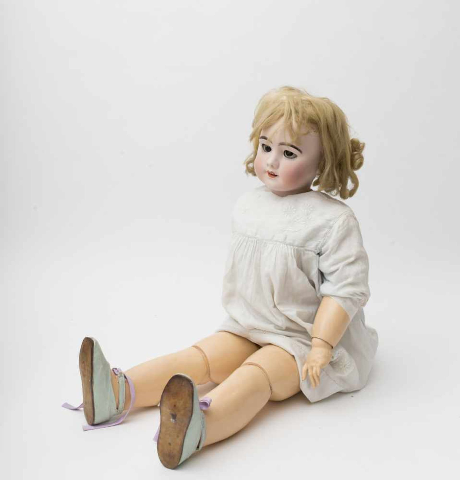 "SFBJ doll With biscuit head, open mouth, branded ""SFBJ 13"" (restored), original articulated body,"