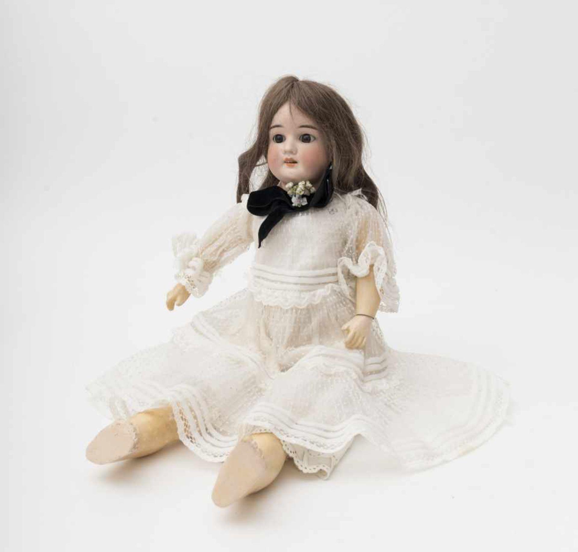 """German doll With biscuit head, open mouth, branded """"SCHOENAU & HOFFMEISTER"""", brown sleeping eyes ("""