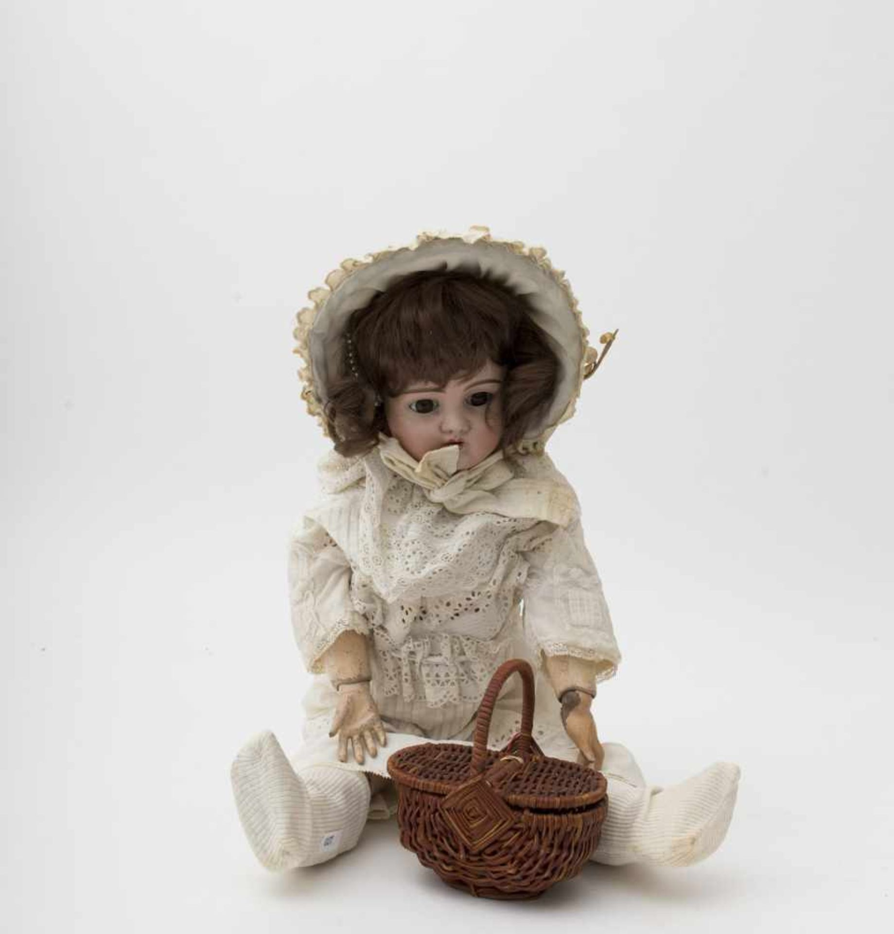 """German doll With biscuit head, open mouth, branded """"444"""", brown sleeping eyes (crack in the"""