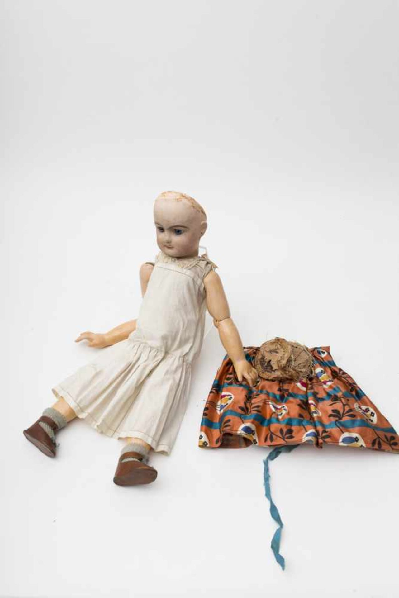 RABERY and DELPHIEU doll With cast biscuit head, open mouth, fixed blue eyes, (crack in the