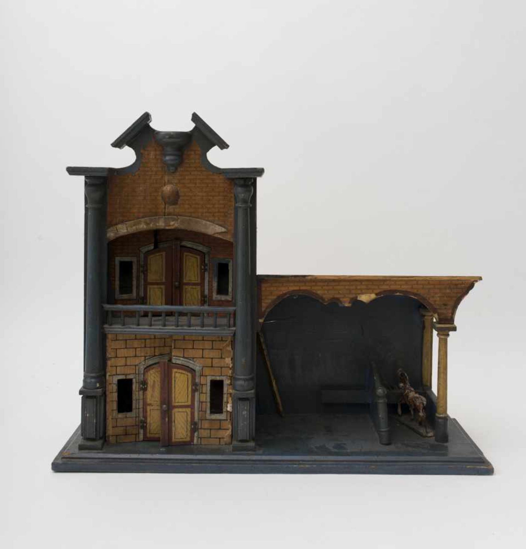 Caretaker's cottage Made of wood and papier collé, with brick and timber décor, stable and horse
